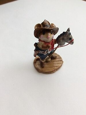 Wee Forest Folk Giddyup! M-312 Mouse Stick Hobby Horse Cowboy Red Bandana Cool