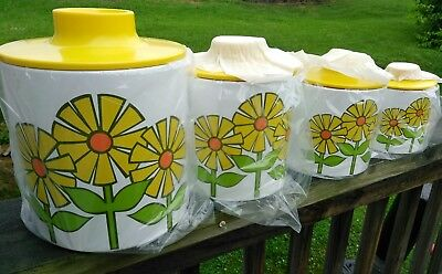 4 Vintage RANSBURG MOD DAISY SUNFLOWER Kitchen Canisters