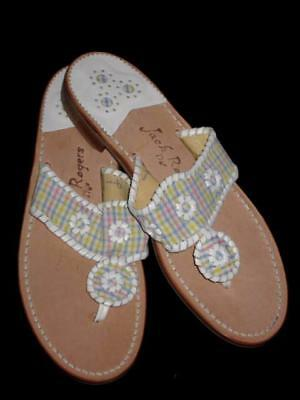 c774911fe NEW NIB Womens JACK ROGERS Navajo Seersucker Pastel Plaid Thong Sandals 8.5