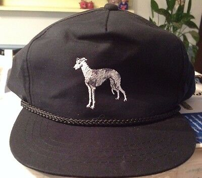Vintage Stitched Baseball Cap with Greyhound Dog or Whippet