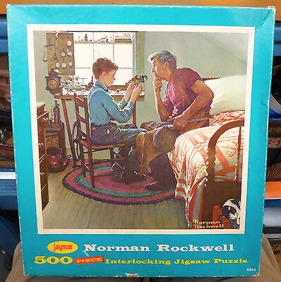 Vintage NORMAN ROCKWELL Jaymar COMPLETE PUZZLE 500 World on Wheels FORD motors