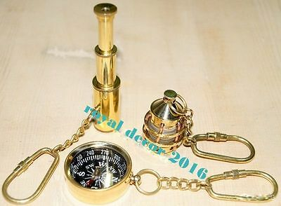 Vintage Car Key Rings Antique Brass Compass Man Women Gifts Ship Lamp Key Chain