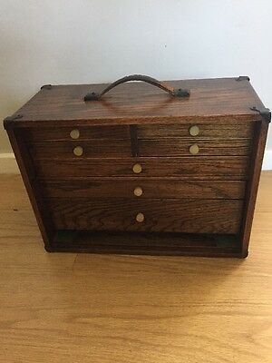 Old Wooden Engineers Tool Chest -Suit Tools Jewellery Trinket Box Collectors Box