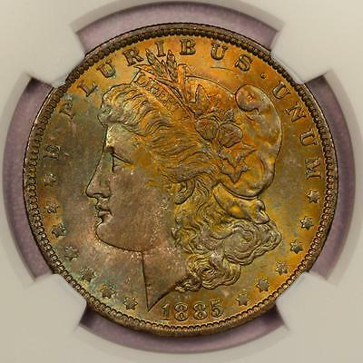1885-O Morgan Silver Dollar *NGC MS64* Attractive Rainbow Toning
