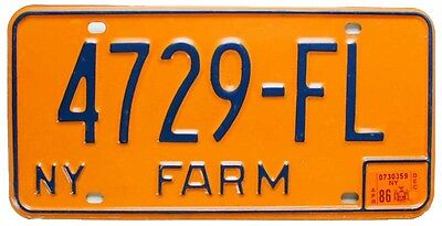 Vintage New York 1986 FARM License Plate 4729-FL, Tractor, John Deere, Harvestor