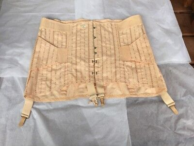 Vtg PEACHY Corset Girdle SZ 40 Boned Support Lace Up Back NWT