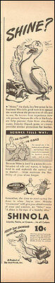 1940's Vinage ad for SHINOLA Shoe Polish`Duck Art Cartoon (042416)