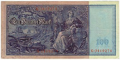 1910 Germany Reichsbanknote Bank Note 100 Marks Beautiful Large Battleship Note