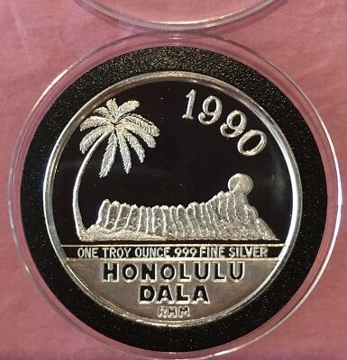 1990 Kingdom Of Hawaii Honolulu Dala 1 Troy Oz .999 Fine Silver Rare Round Coin