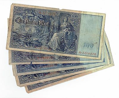 Lot of 5 1910 Germany Reichsbanknote Bank Notes 100 Mark Beautiful Lg Battleship