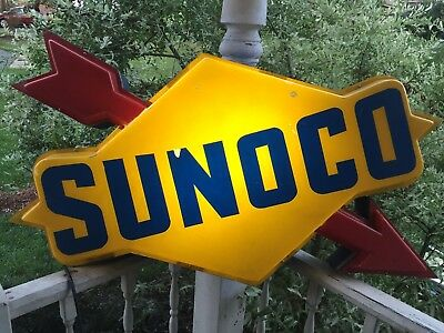 "Vtg Sunoco Lighted Gas Station Canopy Sign 48 Inch Metal Base ""fair Cond"" Read"