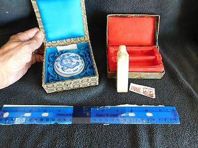 Vintage Chinese Soapstone Wax Seal Stamp AND Wax w/ Spatual in Boxes