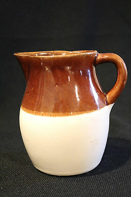 "Roseville RRP Co USA Pottery Pitcher Beige/Dark Brown 6"" Height VGC"