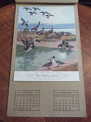 1946 The Field and Stream Calendar of Game Birds of America USED