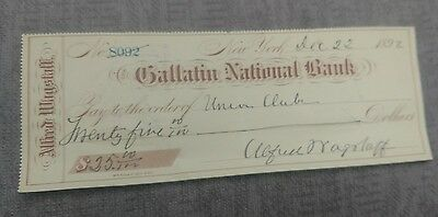 1892 Gallatin National Bank Check Signed ASPCA Pres Alfred Wagstaff Jr.