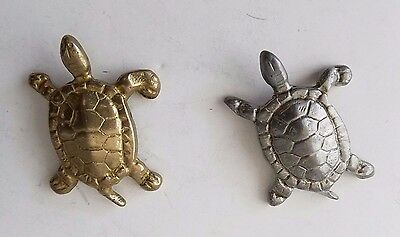 """Vintage Pair of Turtles Gold & Silver Finish Metal Decorative 2.5""""in long Taiwan"""