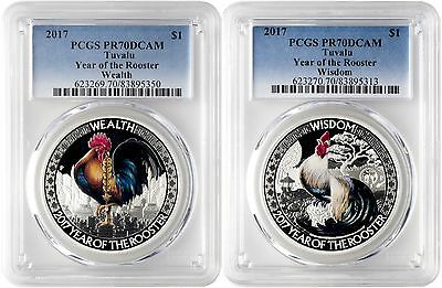 2017 $1 Tuvalu Wealth & Wisdom Rooster Silver Proof Two-Coin Set PCGS PR70DCAM