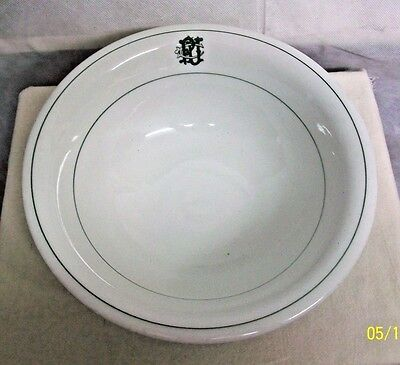 """Sterling Vitrified China Restaurant Ware Mid-Century Initialed """"pu"""" Serving Bowl"""