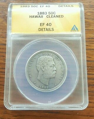 1883 King Kalakaua Silver Coin Half Dollar ANACS EF 40 Graded - Send Best Offer