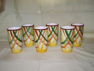 "Set of 6 Vernonware Vernon Kilns ""Homespun"" Tumblers"