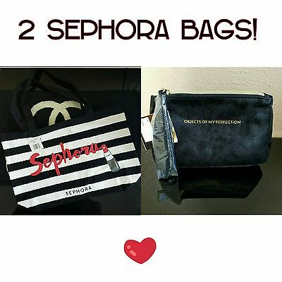 NWT! $45 LOT OF 2 SEPHORA Bags Velour Makeup + Canvas Tote Bag