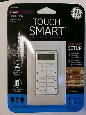 GE 25055 Touchsmart In-wall Digital Timer With 6 Pushbuttons New
