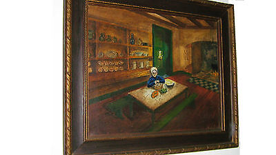 "ANTIQUE ""Dutch Kitchen"" ORIGINAL oil on canvas by dutch artist Jan Logeman."