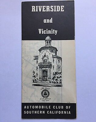 Vintage Street Map Riverside Automobile Club of Southern California 1951