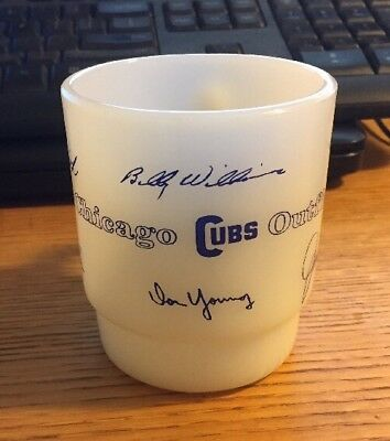 Vintage 1969 Chicago Cubs Baseball Signature Outfield Fire King Coffee Mug