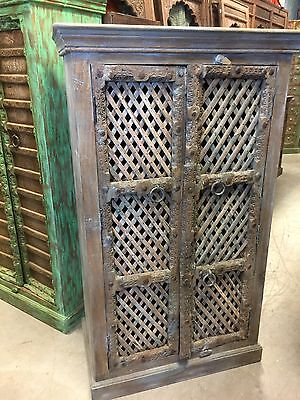 Antique Indian Brown Blue Armoire Open Wooden Jali CRISCROSS wINE Cabinet 18C