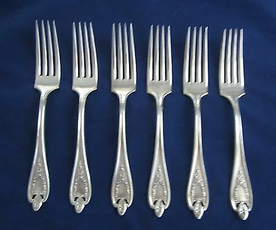 "1847 Rogers Bros Old Colony set of 6 dinner forks 7.5"" silverplate"