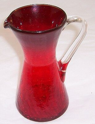 "7"" Tall Vintage Red Crackle Glass Pitcher"