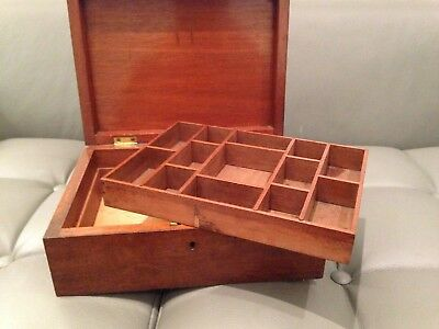 Victorian English Work Storage Box With Lift Out Pigeon Hole Tray
