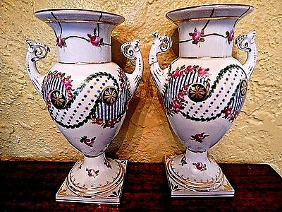 Pair Of Antique Dresden Urn Vases To Restore Or Display