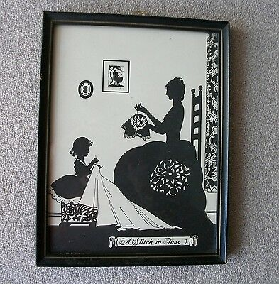Silhouette A STITCH IN TIME, Mother & Daughter Sewing, 1929 Buckbee Brehm, SWEET
