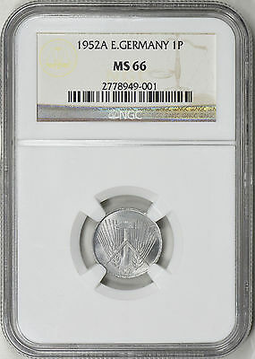 1952A East Germany 1 Pfennig - Ngc Ms66 - Km5 (17-0053)