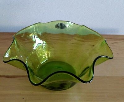 """Blenko Glass 1950's Turquoise Blue 8"""" Wide Fluted Bowl #3744X"""