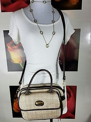 Koltov Collections Straw Handbag Purse Crossbody Leather Strap Brown Women's Bag