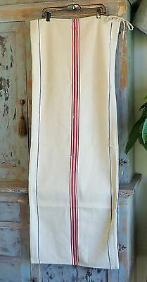 Vintage Antique Grain Sack Hemp Linen Stripe Red & Blue European Feed Sack