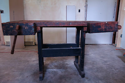 Antique Carpenter Workbench Industrial Wood Carpenter Table Server  VTG Old