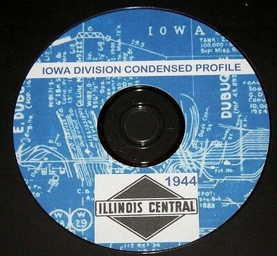 Illinois Central RR 1944 Iowa Division  Condensed Profiles PDF pages on DVD