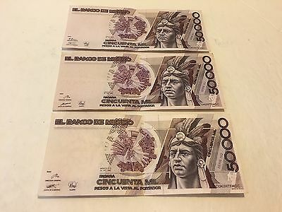 Mexico Notes 50000 Pesos Mexican Banknotes  Lot Of (3) VF-XF Serie 1990