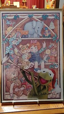 Jim Henson Autographed Kermit the Frog and Toys Christmas Artwork