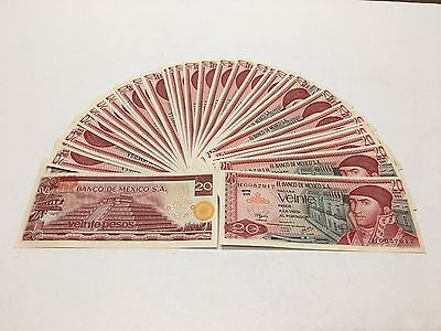 Mexico Notes Lot Of (50) $20 Pesos Mexican Banknotes  UNC Series 1977  DH