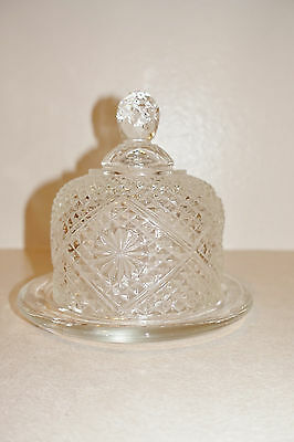 Vintage Clear Glass Round Dome Butter Dish Cheese dish