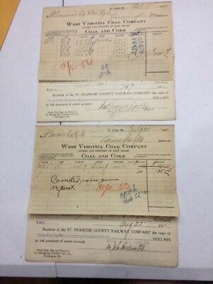 1910 West Virginia Coal Co. Billhead St Louis Mo To St François County Rwy Mo
