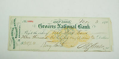 1870 Grocers National Bank New York - Bowling Green Savings - Obsolete Check