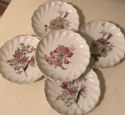 Vintage Lot 5 Made In Germany Butter Pats Hand painted Bone china FREE SHIPPING