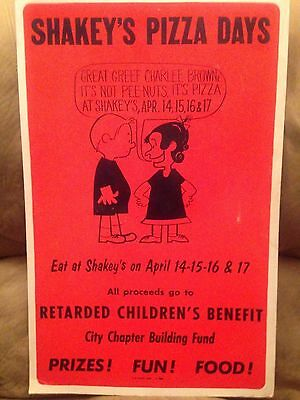 Very Cool Rare Vintage Shakeys Pizza Charlee Brown Poster Advertising