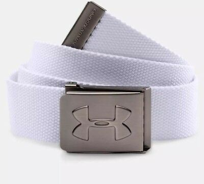 New Under Armour Youth Boys UA Webbing Adjustable White Belt One Size Fits All